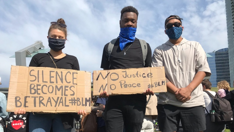 Thousands of protesters gathered in Jack Poole Plaza Friday afternoon to add their voices to the anti-racism protests that have been going on across North America in the two weeks since the killing of George Floyd by Minneapolis police. (CTV)