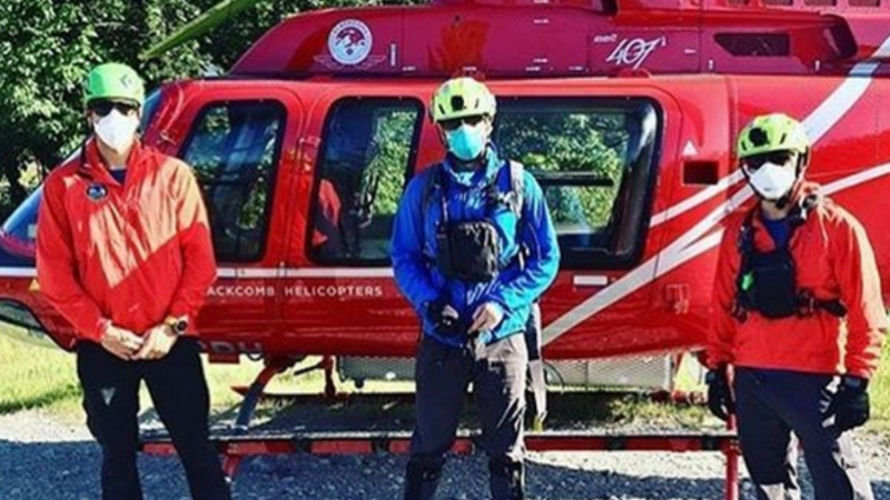 Members of Squamish Search and Rescue pose in personal protective equipment in this image from the team's Instagram page.