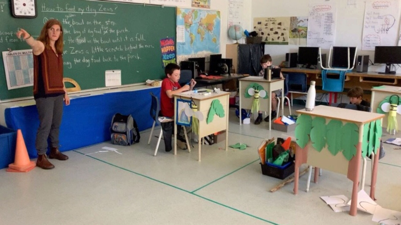 A classroom from Queen Elizabeth's elementary is pictured here as one of the several Quebec schools that have been opened for two weeks after pandemic lock-down measure were lifted.