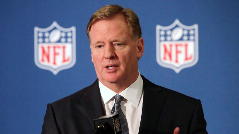 In this Dec. 12, 2018, file photo, NFL commissioner Roger Goodell speaks during a news conference in Irving, Texas. (AP Photo/LM Otero, File)