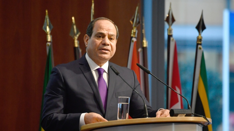 "In this Nov. 19, 2019, file photo, Egypt's President Abdel Fattah el-Sissi speaks at the ""G20 Investment Summit - German Business and the CwA Countries 2019"" on the sidelines of a Compact with Africa (CwA) in Berlin, Germany. (John MacDougall/Pool via AP, File)"
