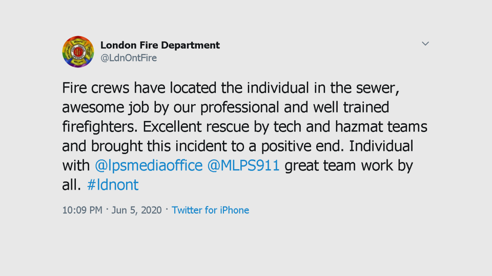 London Fire Tweet after rescuing man from sewer
