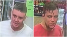 Cochrane RCMP want to speak with these two men who allegedly accosted a customer inside a liquor store with racist remarks. (Supplied)