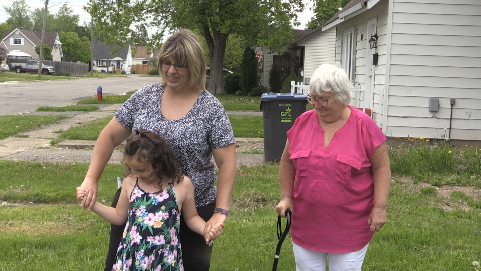 Tracy Poliquin, her mother, Carol-Anne Grisdale and her 6-year-old daughter, Ridley Proulx, have been selected for the home, the first of its kind in the Sault to be barrier-free. June 6/2020 (Christian D'Avino/CTV News Northern Ontario)