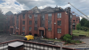A fire is out at a condo building on rue de Morency in Gatineau, June 6, 2020. (Photo courtesy of Melanie Brousseau)