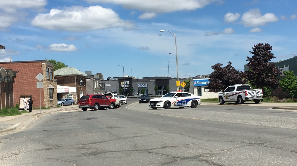 Police are requesting the public seek alternate routes after closing Lorne Street between Applegrove Street and Oak Street due to collision. June 6/2020 (Molly Frommer/CTV News Northern Ontario)