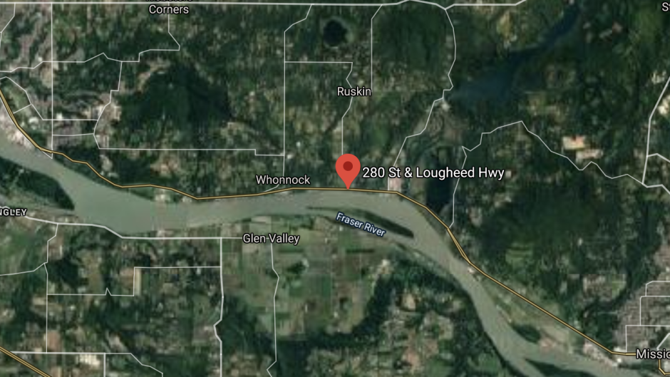 Emergency Health Services has confirmed staff were dispatched to an area near the Fraser River by police Saturday,  June 5, 2020 for reports of a plane in the river. (Google Maps)