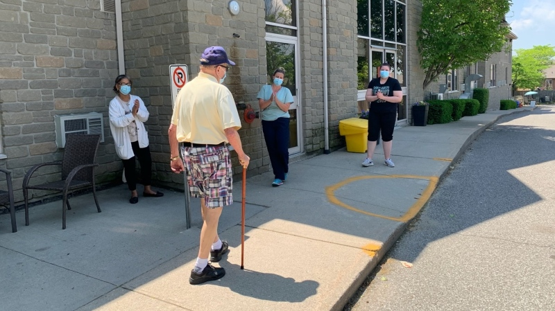 A resident kicks off Anson Place's new walking program as the long term care home is reporting only two active COVID-19 cases. (Photo: Anson Place) (June 6, 2020)