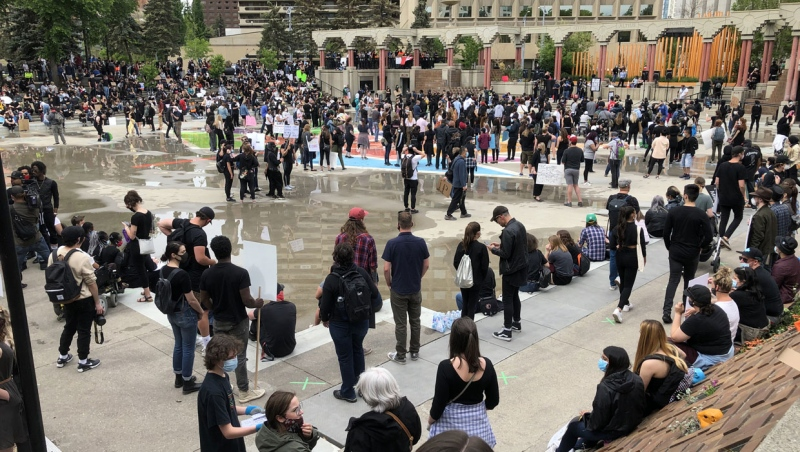 Hundreds of people met in Calgary's Olympic Plaza to support the Black Lives Matter protest on Saturday.