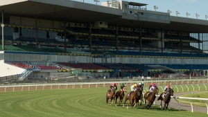 Riders and their horses race around the first turn during the ninth race on opening day at Woodbine Racetrack in Toronto on Saturday, June 6, 2020. THE CANADIAN PRESS/HO-Michael Burns MANDATORY CREDIT