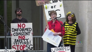 Winnipeggers protest possible 5G cell towers