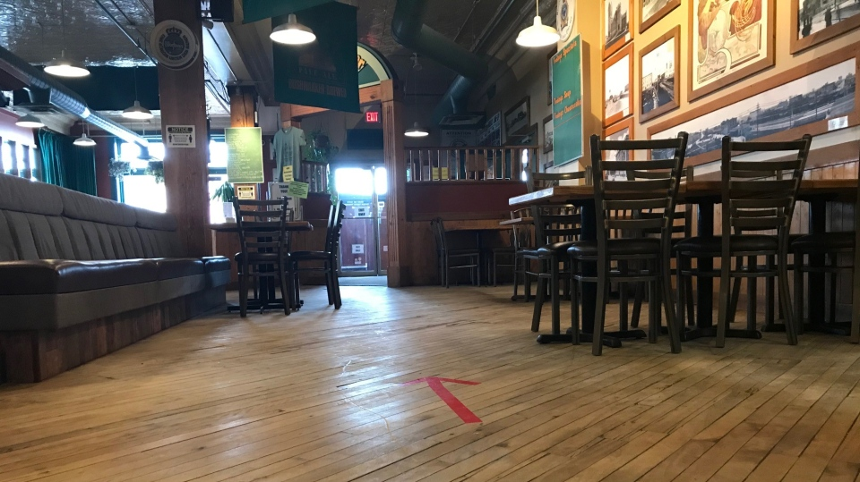 Bushwakker Brewpub has had to make several changes to its dining area to meet the province's reopening guidelines.