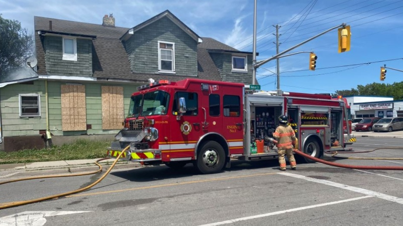 Structure fire at Adelaide and Nelson Streets in London, Ont. on June 7, 2020. (@LdnOntFire/Twitter)