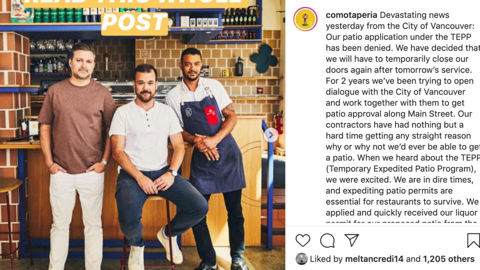 Como Taperia Instagram post