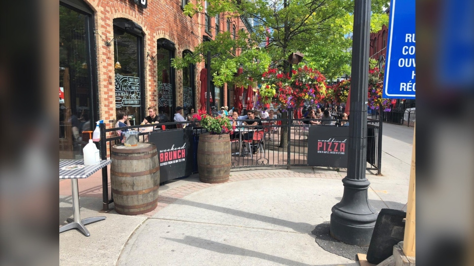 The Grand Pizzeria in the ByWard Market says it was fined $880 for allowing people to sit on the patio on Sunday. (Photo submitted by 580 CFRA listener).