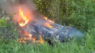 A car burst into flames after rolling into a ditch in Norfolk County Sunday afternoon. (Courtesy Norfolk OPP)