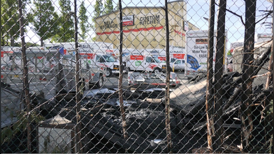 The scene of one of the U-Haul fires in Victoria on Monday, June 8, 2020. (CTV News)