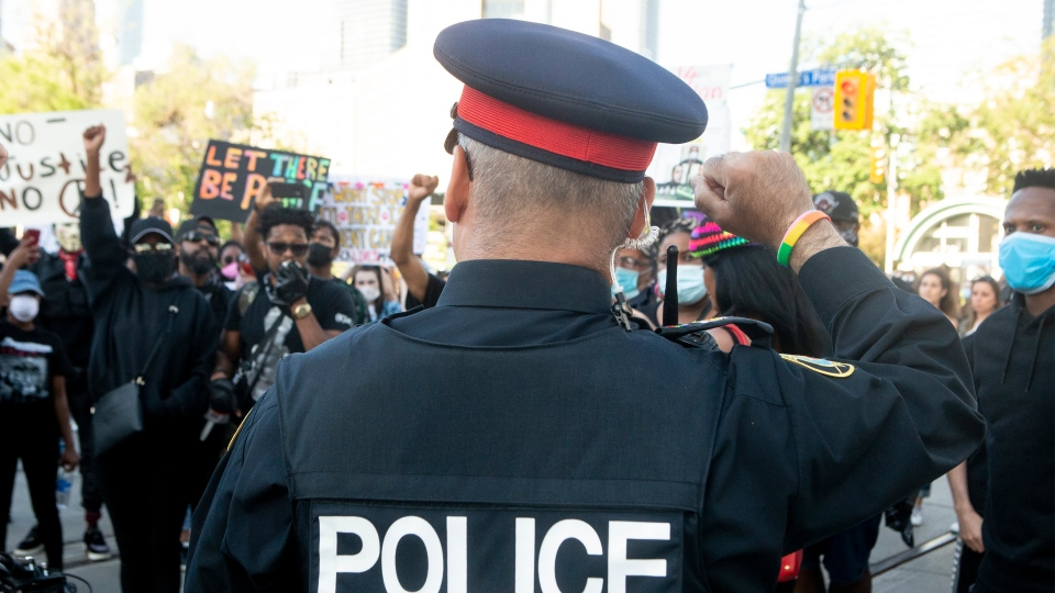 police officer, protest