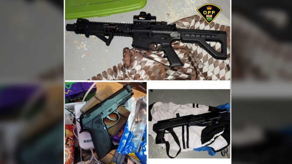 Ontario Provincial Police say they seized a variety of drugs and replica weapons from a home in Pembroke June 5, 2020. (OPP handout)