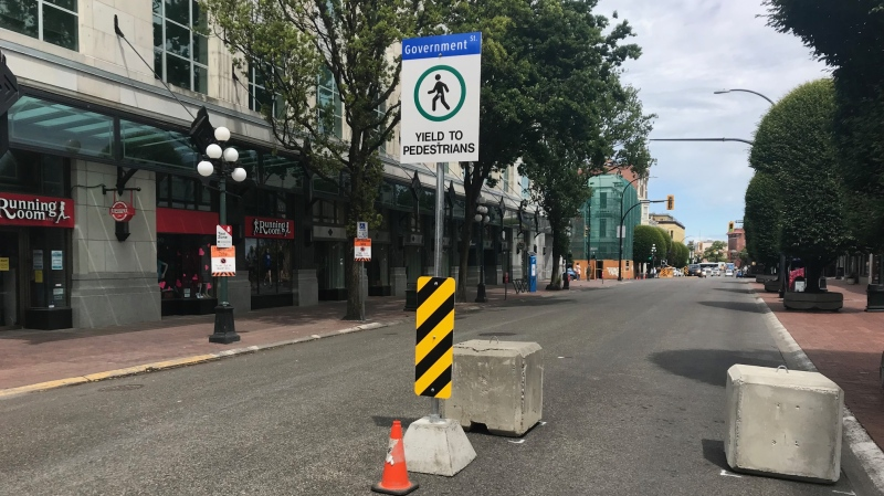 Victoria closed a section of Government Street in downtown Victoria last summer to encourage pedestrian activity during the COVID-19 pandemic.
