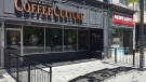 The patio outside Coffee Culture in downtown London, Ont. is seen Monday, june 8, 2020. (Bryan Bicknell / CTV London)