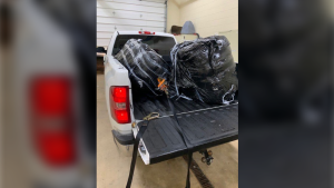 265 pounds of suspected cannabis towed to man found unconscious in the Detroit River. (courtesy Chief Patrol Agent Douglas Harrison/Twitter)