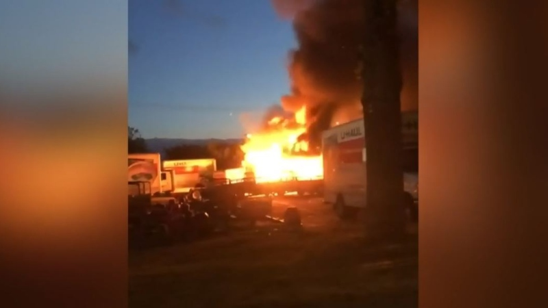 A pair of fires that were allegedly sparked at the U-Haul centre on Nanaimo Street in downtown Victoria are shown: (Submitted)