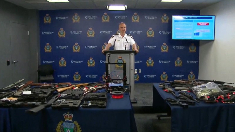 Insp. Max Waddell with the Winnipeg Police Service speaks at a press conference regarding the seizure of 'ghost guns' in Winnipeg Tuesday morning.
