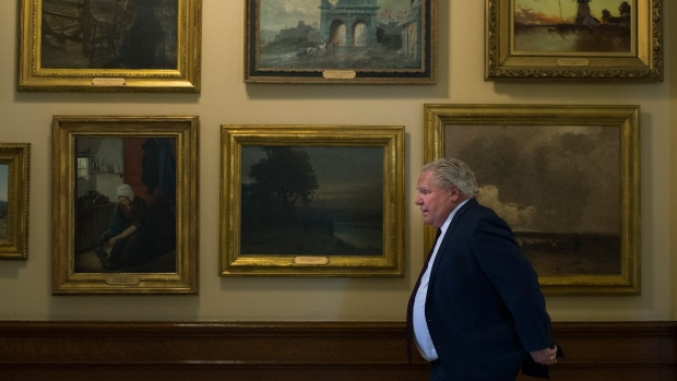 Ontario Premier Doug Ford arrives during his daily updates regarding COVID-19 at Queen's Park in Toronto on Tuesday, June 9, 2020. THE CANADIAN PRESS/Nathan Denette