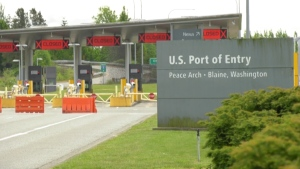 Most lanes at the Peace Arch Border Crossing are closed.