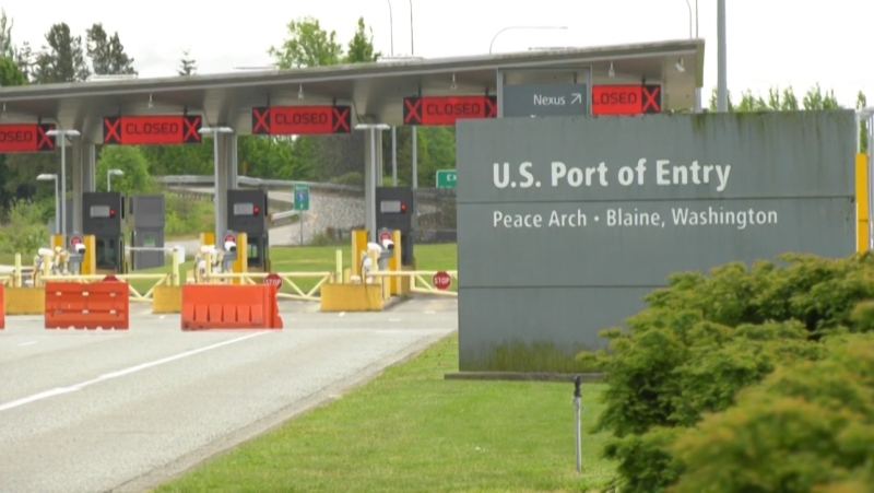 Closed lanes at the Peace Arch Border crossing are seen in this undated file photo.