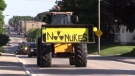 Rolling nuclear waste protest in Teeswater Ont. on June 9, 2020. (Scott Miller/CTV London)