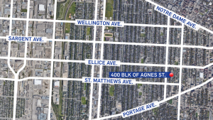 A map shows the location of the City of Winnipeg's 18th homicide.