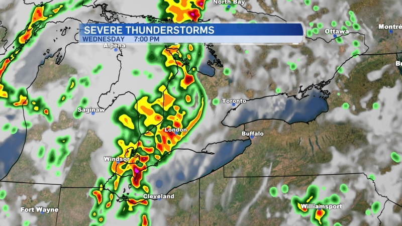 Weather radar shows a line of thunderstorms moving into southwestern Ontario on Wednesday, June 10, 2020.