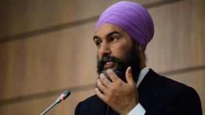 NDP Leader Jagmeet Singh speaks during a press conference on Parliament Hill amid the COVID-19 pandemic in Ottawa on Wednesday, June 10, 2020. THE CANADIAN PRESS/Sean Kilpatrick