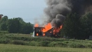 Barn fire on Woodhull Road west of London, Ont. on June 10, 2020. (Courtesy: Ron Neville)