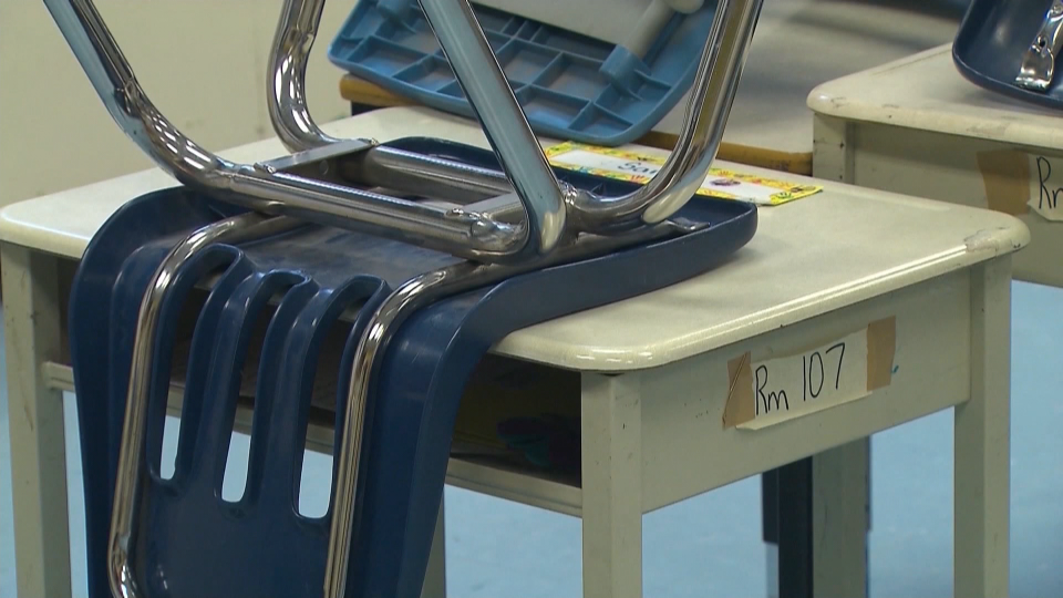 empty classroom desk