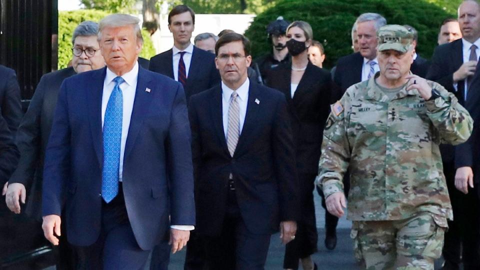 Barr, Trump, Esper, Milley