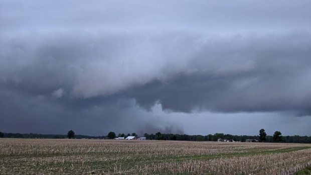 The beginnings of a tornado near Glencoe, Ont. are seen Wednesday, June 10, 2020. (Source: Dave Robins / Twitter)