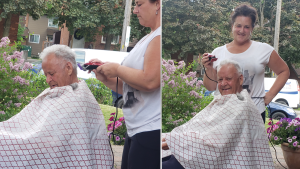 84-year-old Franco Arnone wanted an outdoor fresh air haircut so daughter-in-law Tina Arnone obliged. Franco has been waiting patiently since March in his house. (Nicola Arnone/CTV Viewer)