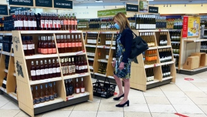 Christine Elliott is seen shopping at an LCBO at Spadina Avenue and Dupont Street on Wednesday afternoon as she awaited COVID-19 test results.