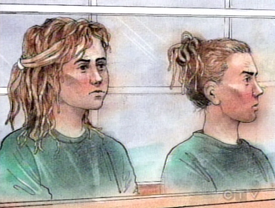 Nicole Kish, left, and 22-year-old Faith Watts are seen in this artist's rendition during court proceedings.