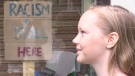 Lyla Wheeler is seen in London, Ont. on Thursday, June 11, 2020. She wants the name of Plantation Road changed. (Celine Zadorsky / CTV London)