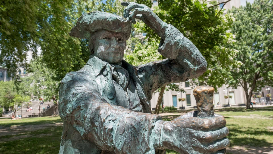 A statue of James McGill is pictured on the McGill University campus Tuesday, June 21, 2016 in Montreal. (THE CANADIAN PRESS/Paul Chiasson)