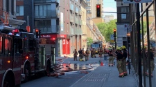 Fire in downtown Montreal (Max Harrold / CTV News Montreal)