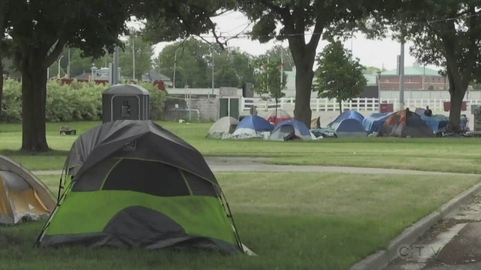 Tent city in London's Queen's Park