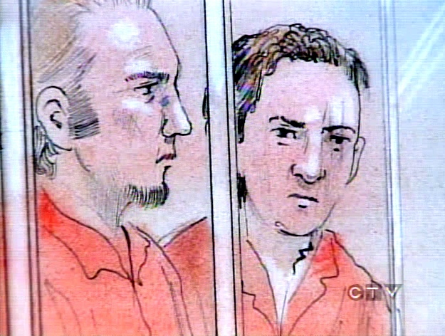 U.S. citizens 21-year-old Jeremy Woolley, left, and 22-year-old Douglas Fresh are seen in this artist's rendition during court proceedings.