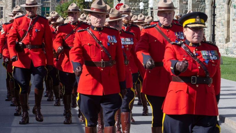 RCMP Commissioner Brenda Lucki leads members of the RCMP in march in honour of fallen Canadian Correctional Services officer Lesa Zoerb, who was killed while on duty, as they take in the Canadian Poilce and Peace Officers 42nd Annual Memorial Service, on Parliament Hill in Ottawa on Sunday, Sept. 29, 2019. THE CANADIAN PRESS/Fred Chartrand