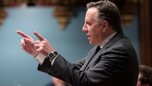 Quebec Premier Francois Legault responds to the Opposition during question period, Tuesday, June 9, 2020 at the legislature in Quebec City. THE CANADIAN PRESS/Jacques Boissinot