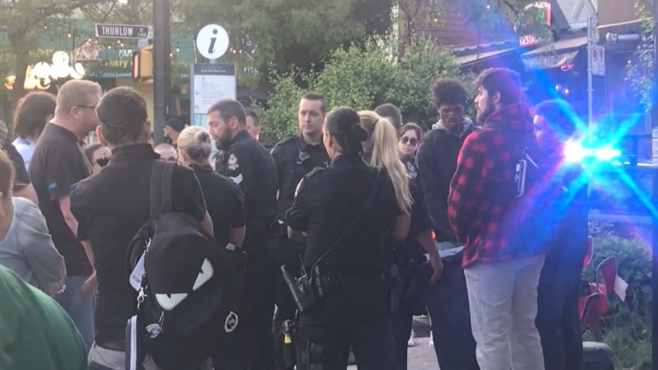 Members of the Vancouver Police Department were called to the city's West End Thursday evening for a protest involving anti-gay sentiments.